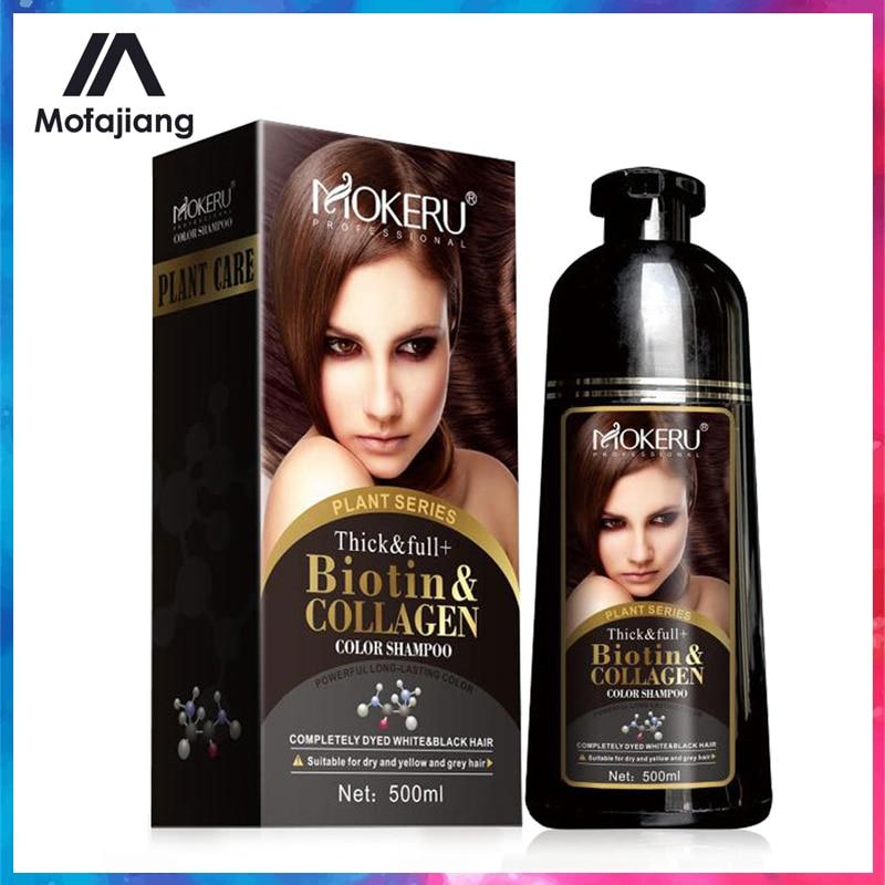 Mokeru Organic Natural Fast Hair Dye 500ML Plant Essence Black Hair Color Dye Shampoo For Cover Gray White Hair недорого