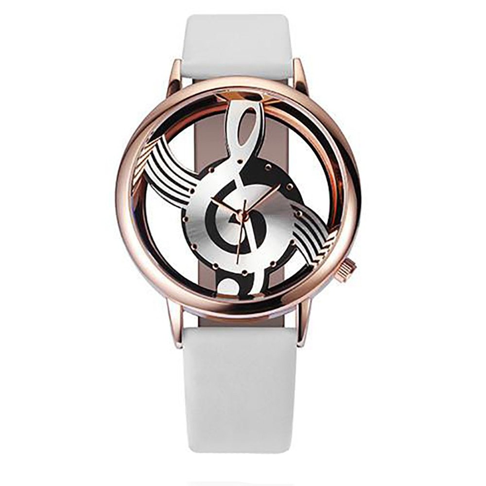 Fashion ladies watch creative personality music symbol watch solid color leather analog quartz watch