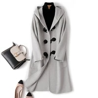 double face cashmere coat with cow horn button for womens autumn winter 2020 new medium length double faced woolen coat of