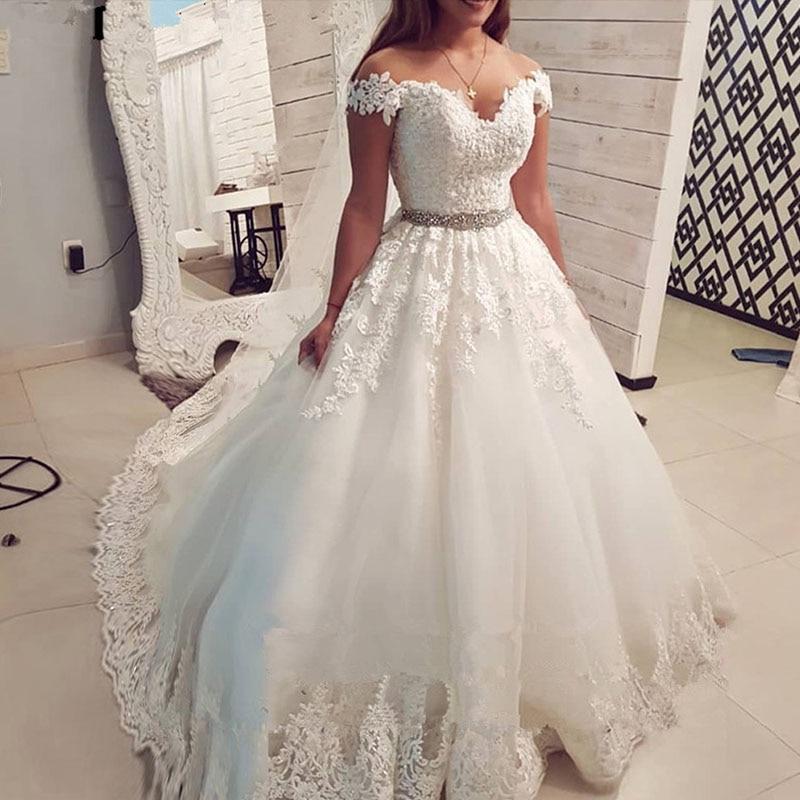 Promo ZJ9183 2019 2020 Cap Sleeve Embroidery Charming  Sweetheart White Wedding Dress Custom Made Size Ball Gown Wedding Dresse