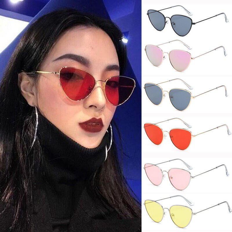 Sexy Small Vintage Cat Eye Sunglasses Women Vintage Red Black Sun Glasses Female Ladies Cateyes Sung