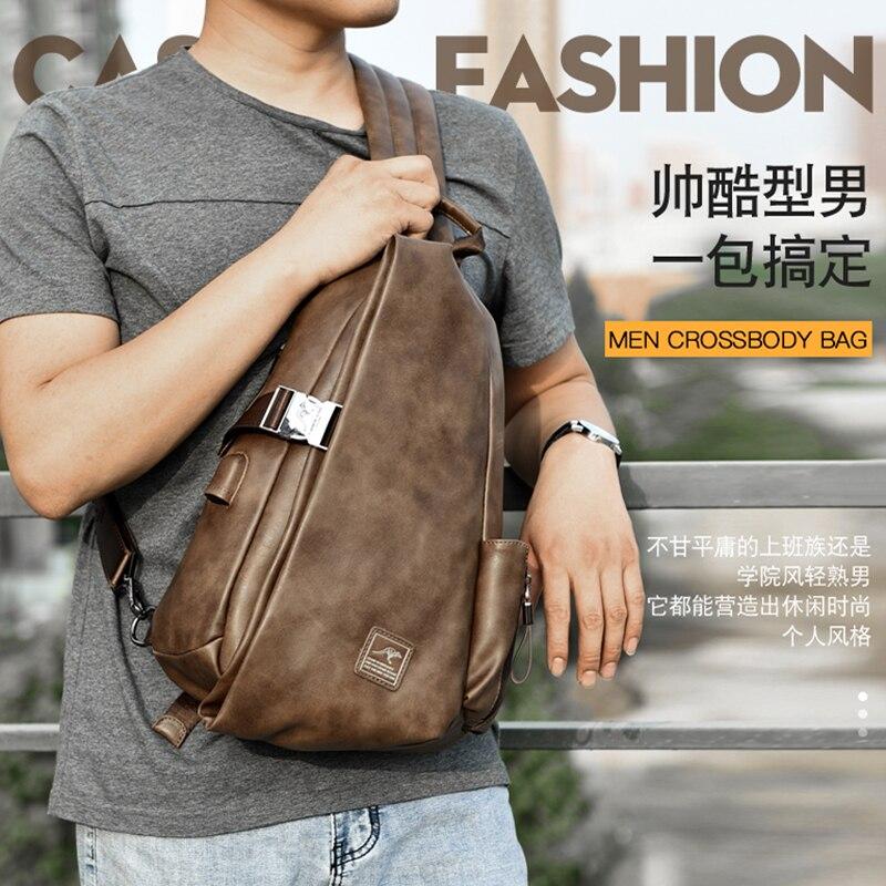 JackKevin Men Multifunction Leather Crossbody Bags USB Charging Chest Pack Short Trip Water Repellent Shoulder Messengers Bag