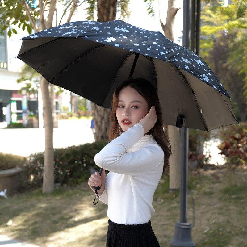 10-hueso Paraguas sombrilla Parasol mujer Plegable Sombrillas Paraguas Guarda Chuva a prueba...