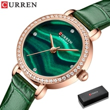 2021 CURREN New Watches for Women Luxury Charm Leather Crystal Wristwatches Fashion Waterproof Quart