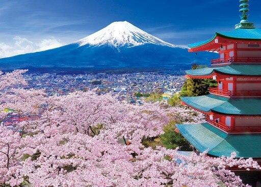 Nuevo juguete educativo de rompecabezas de flor de cerezo Mt. Fuji de 500 piezas, importado de Japón
