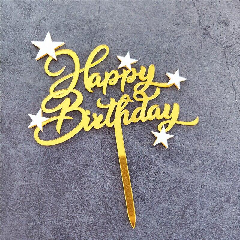 1 Uds brillante Feliz cumpleaños adorno acrílico para pastel estrella encantadora Cupcake...