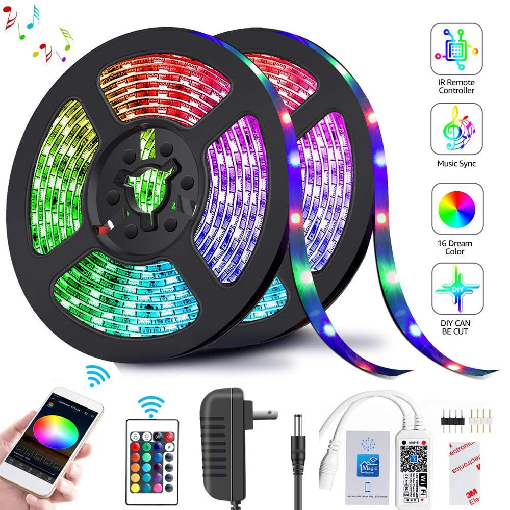 Led Strip Light 2835 SMD RGB Tape 5M 10M 15M 20M DC12V 3528 Flexible RGB LED Stripe Ribbon Diode 24Key Controller WIF Adapter