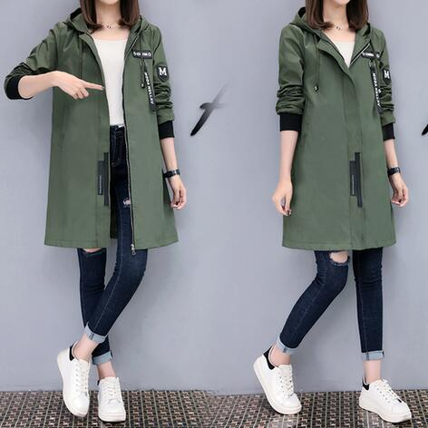 2020 New Winter Trench Coat Women Long Sleeve With Hood Medium Long Army Green Female Coat Casaco Fe