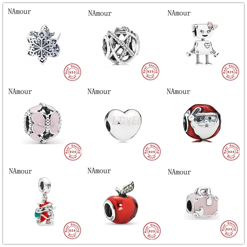 Envío Gratis, regalo de Navidad, copo de nieve, manzana, santa claus, mariposa, cuentas diy, compatibles con abalorios Pandora originales, pulsera de plata 925 F281