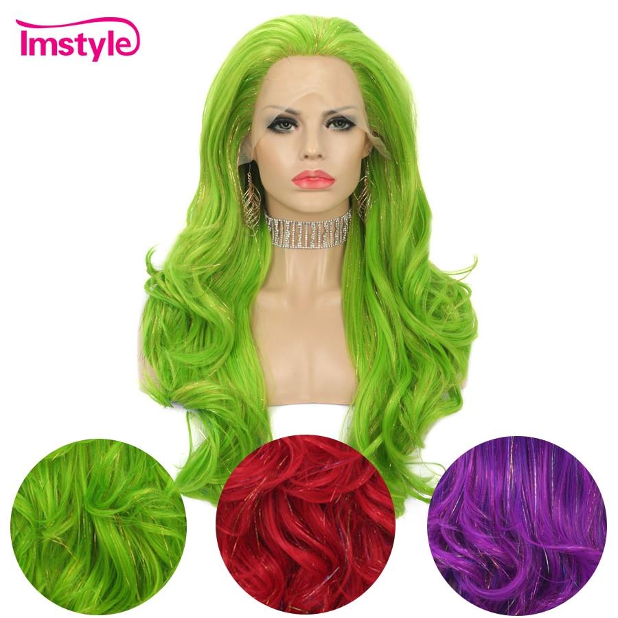 Imstyle oropel peluca verde púrpura rojo sintético pelucas delanteras de encaje para las mujeres Sparkle purpurina, cabello peluca larga Ondulado Natural peluca