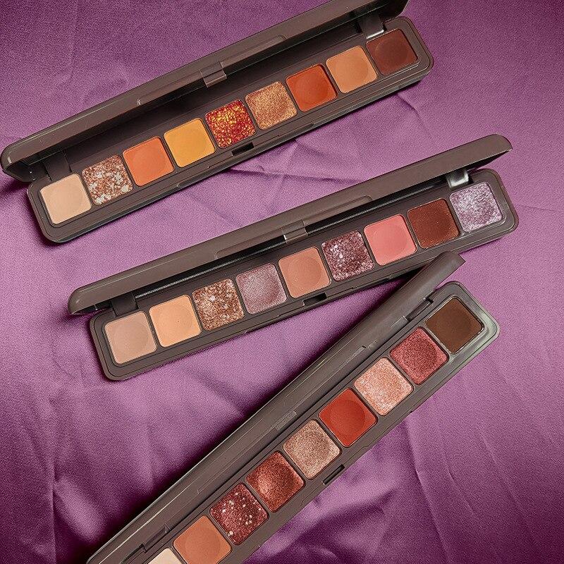Novo 9 cores sombra paleta shimmer fosco sombra natural de longa duração à prova dglitter água brilho olho em pó sombra maquiagem cosméticos