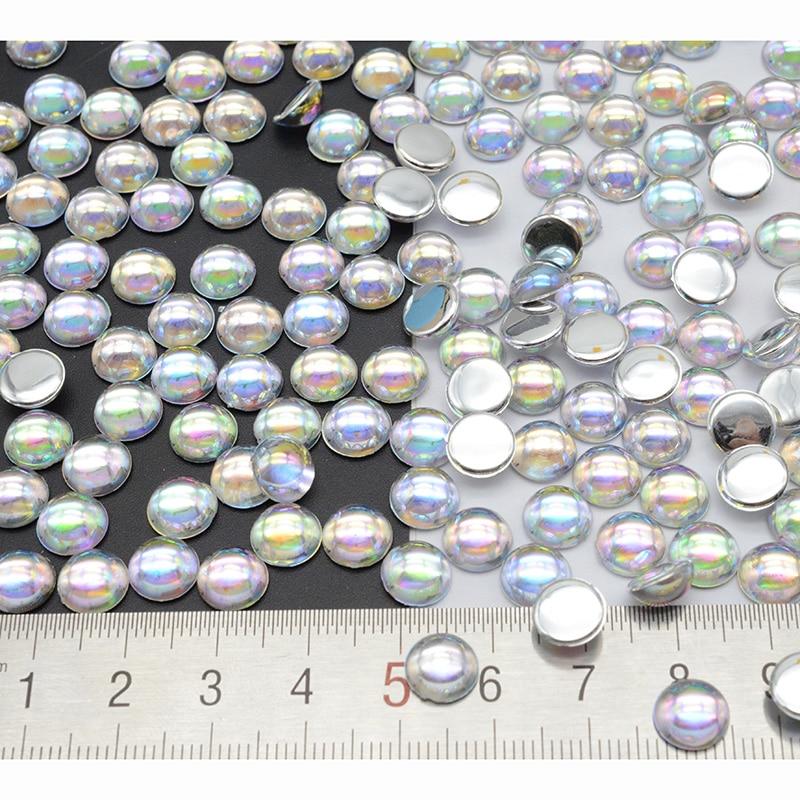 DIY colgante AB transparente de 3/4/5/6/8mm, accesorios de joyería, domos de cabujón, gotas de agua redondas, perlas de pegamento