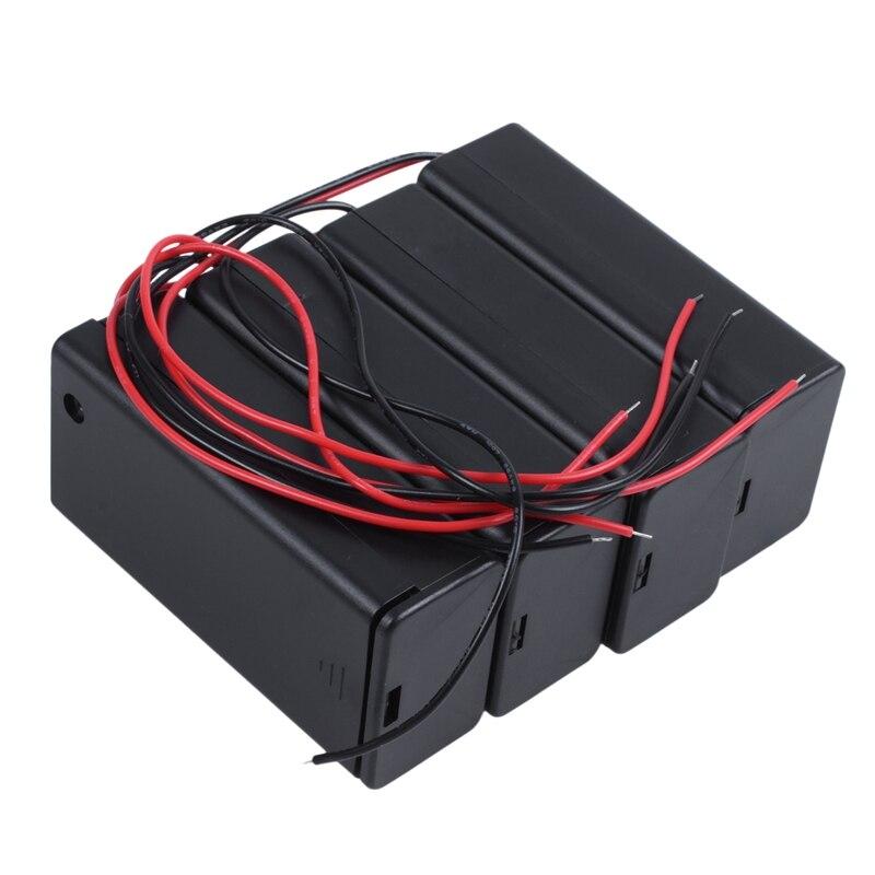 4 pces ligar/desligar interruptor 1x9v bateria caso titular leva preto w tampa