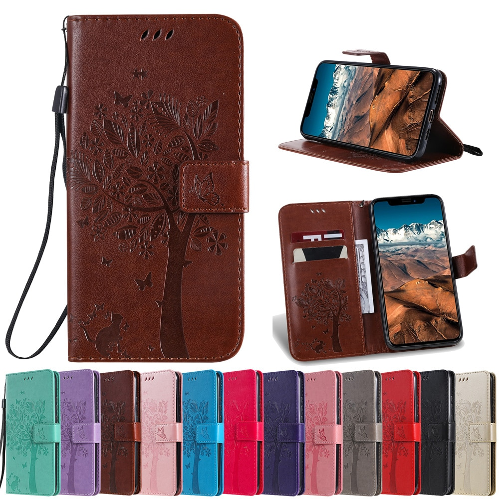 Sunjolly Tree PU Leather Case Flip Pink Wallet Card Stand Phone Cover fundas for Huawei NOVA 5i Pro 4e 4 Lite 3 NOVA 3i 3e Cases