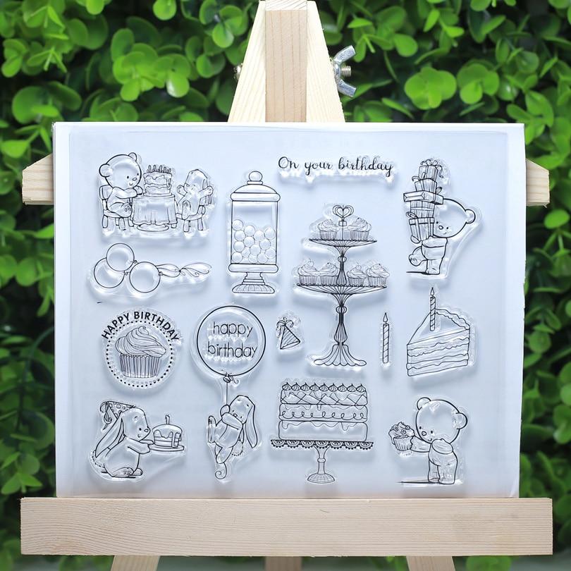 Bebé oso conejo cumpleaños transparente sellos transparentes para Scrapbooking/ropa de tela/Decoración de manualidades de Suministro de tarjetas