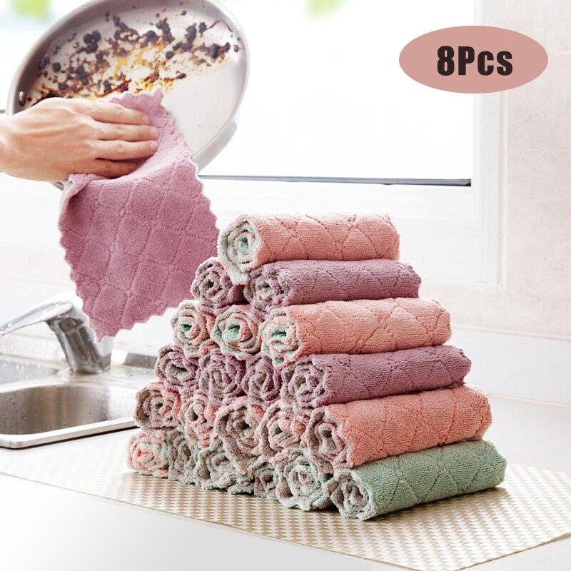 Кухонное полотенце из микрофибры, 8 шт., впитывающая ткань для посуды, антипригарное моющее масло, кухонная тряпочка, бытовые приборы для мытья посуды