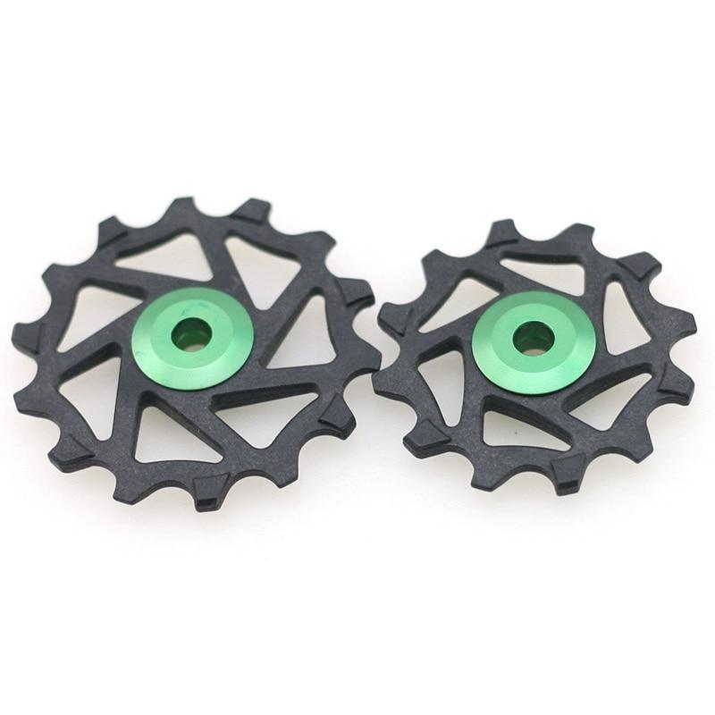 Para sram gx xx1 para shimano-s m9000 roda polia engrenagem guia rolo 12t 14t rolamento estrada mtb bicicleta traseira desviador verde