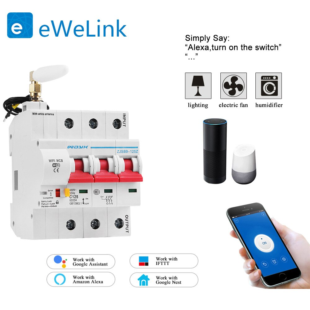Enchufe inteligente para hogar con WiFi 3P, enchufe de Circuito automático, protección contra sobrecarga y cortocircuitos para Smart home de Amazon, Alexa y Google home