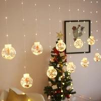 led curtain string light ball santa claus snowman new year 2022 christmas decortions for home xmas navidad tree decoration natal