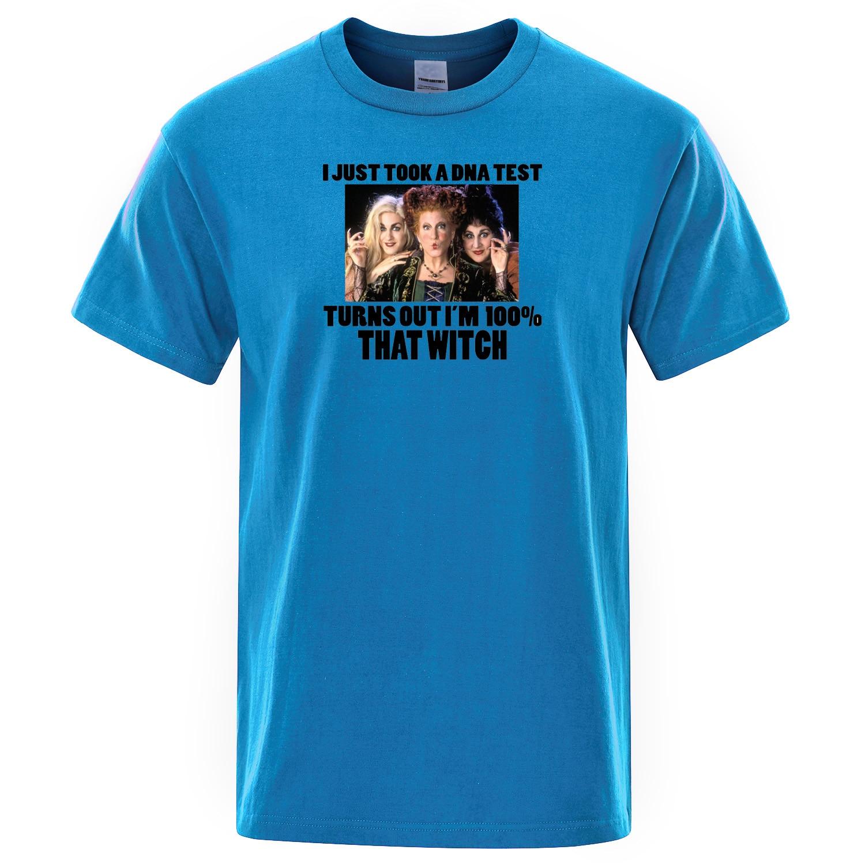 Hocus camiseta con diseño de Pocus I Just take A DNA Test resulta que soy 100% esa bruja camisetas verano algodón Tops hombres camiseta divertida camiseta