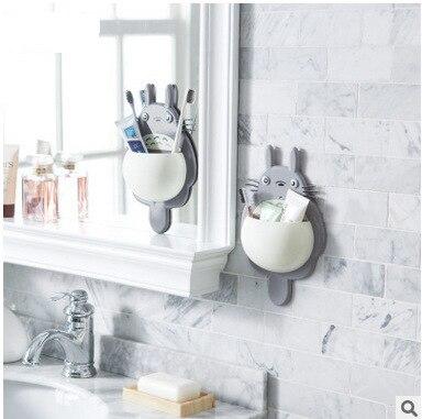 Soporte para cepillo de dientes, 1 Uds., bonito Totoro, montaje en pared para baño, soporte para cepillo de dientes con ventosa, Organizador con ventosa, accesorios para baño y casa