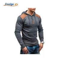 covrlge mens sweatershirt casual comfortable hooded creativity shoulder deerskin velvet stitching hedging thin top mww316