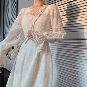Elegant Floral Dress Women French Lace Party Designer Midi Dress Female Casual French Korean Dress 2021 Spring Women's Clothing