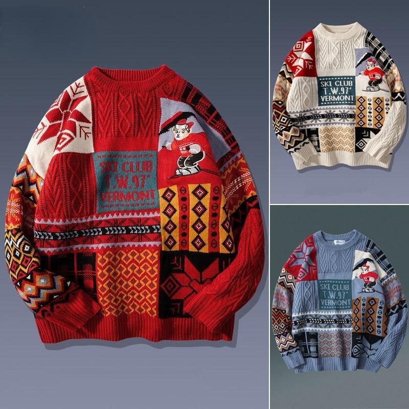 Осень-зима 2021, мужской свитер, мужской свободный зимний ретро-свитер с медведем для ленивых пар, мужской свитер