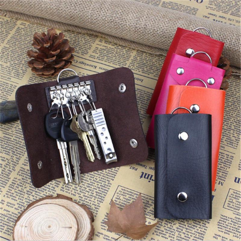 PU Leather Keychain Men Women Key Holder Organizer Pouch Car Key Bag Wallet Housekeeper Key Case Min