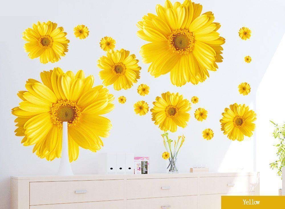 9 flores amarelo crisântemos margarida flores adesivo de parede decalque decoração para casa sala estar estudo tv parede