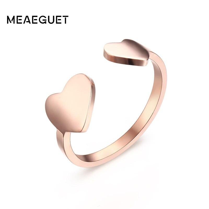 Anillo Meaeguet romántico ajustable doble corazón Rosa abertura de Color dorado dedo del pie para mujer Anillos regalo joyería