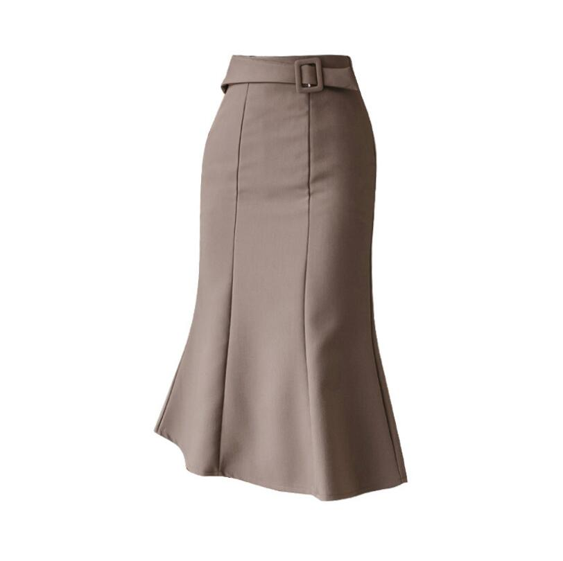 Free Shipping Hot Selling 2021 Summer New High Waist Slim Fashion Medium Length Fishtail Women Skirt Lady Working Skirts .