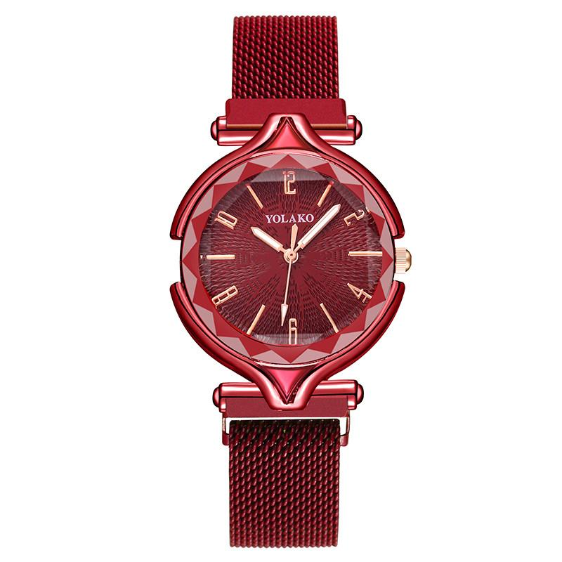 Geometric Surface Digital Dial Female Quartz Watch Luxury Women's Fashion Luxury Stainless Steel Magnetic Buckle Strap Watches