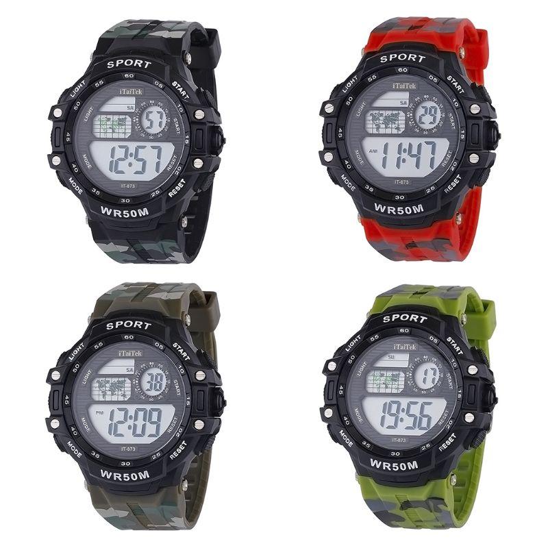 Многофункциональные разноцветные камуфляжные водонепроницаемые электронные часы Y1UE для детей и студентов, повседневные спортивные часы д...