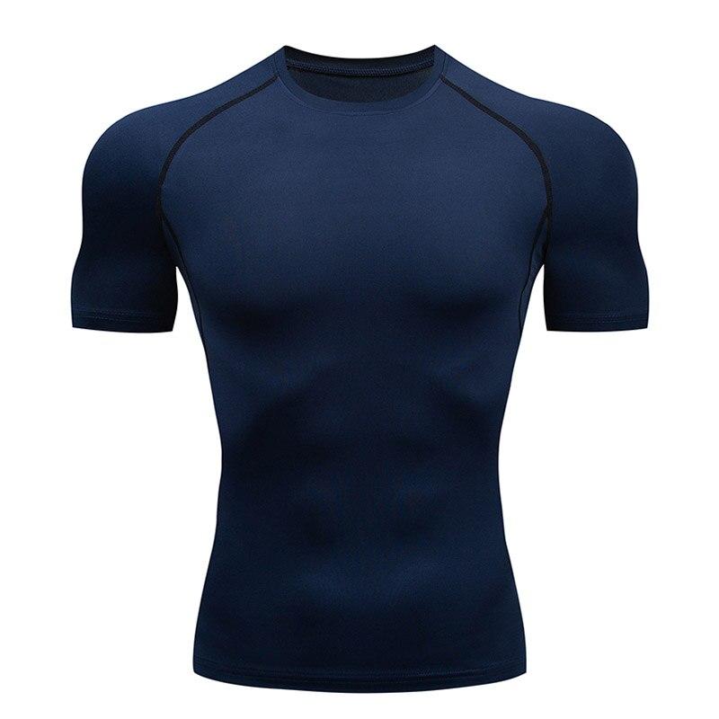 Camiseta para hombre, mallas, ropa deportiva de compresión, camiseta muscular, novedad de verano, cuello redondo de calidad, Color sólido, Camiseta deportiva de manga corta, 4XL