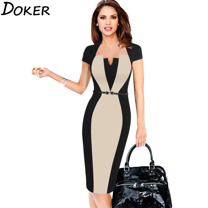 2020 New Elegant Short Sleeve Office Work Dress Women Plus Size Patckwork Midi Pencil Dresses Ladies Slim Evening Party Dress
