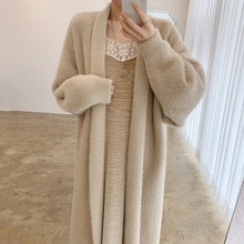 Cardigan Sweater Korean Chic Autumn And Winter Elegant Loose Knee Length Long Sleeved Warm Imitation