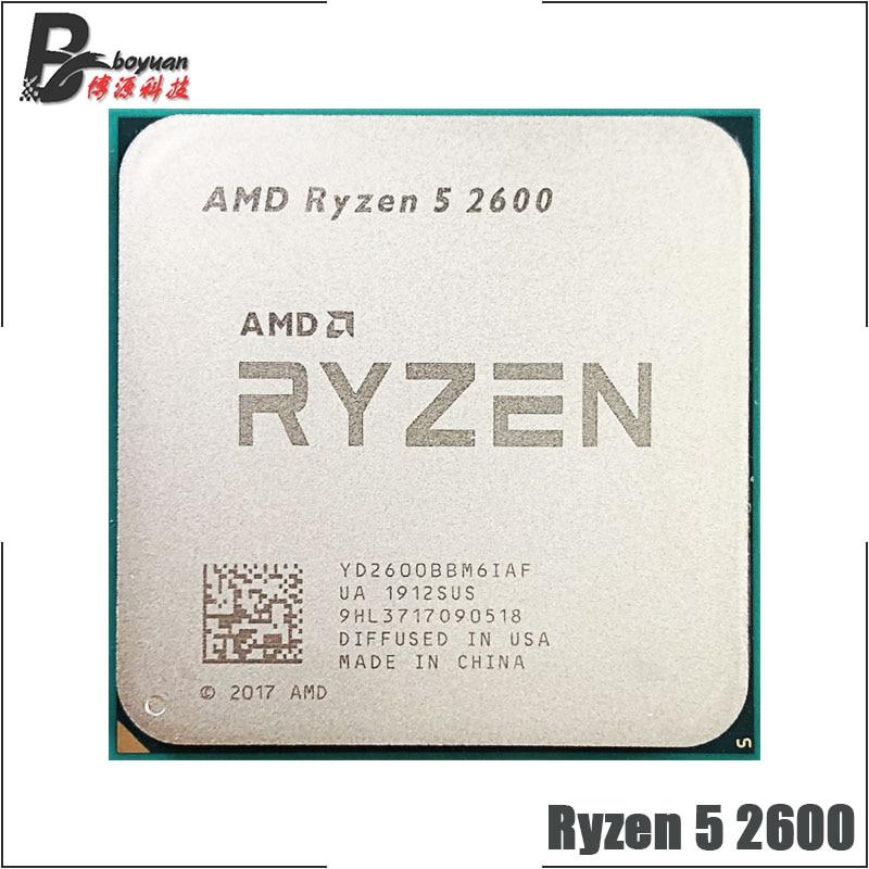 [해외] AMD-Ryzen 5 CPU 프로세서, 2600, R5 2600, 3.4 GHz, 6-코어, 12-코어, 65W, YD2600BBM6IAF 소켓 AM4