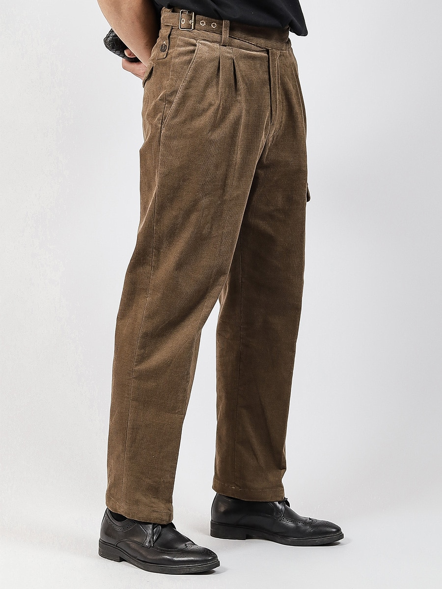 Aw20 Gurkha Gurkha men's workwear loose straight casual pants retro corduroy striped military pants for men