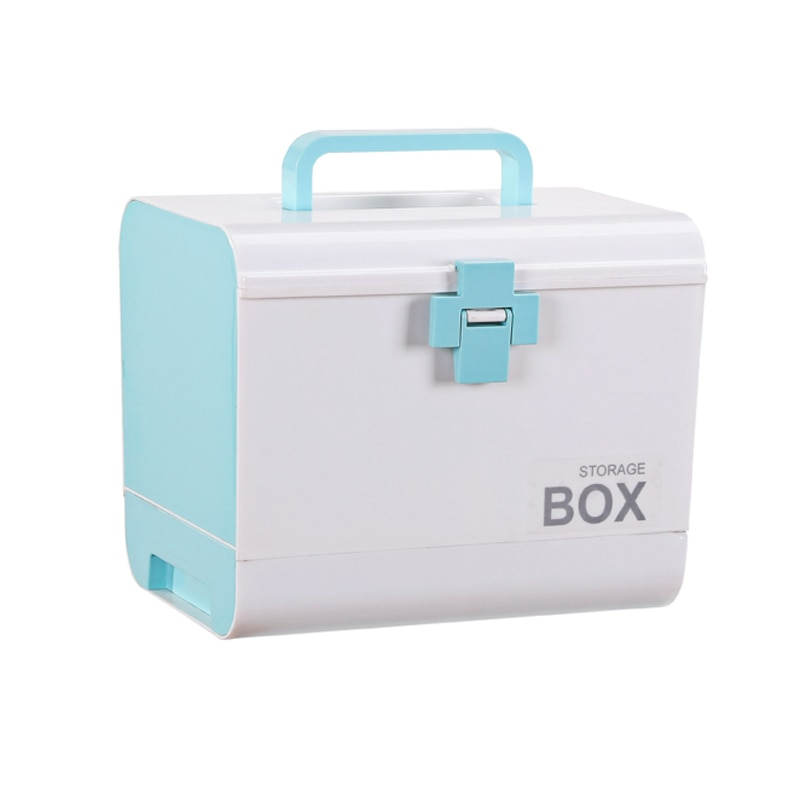 المحمولة الإسعافات الأولية صندوق تخزين صندوق دواء وعاء من البلاستيك الطوارئ عدة متعددة الطبقات سعة كبيرة التخزين المنظم