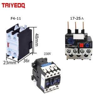3pcs CJX2-D2510 contactor 230V Auxiliary contact F4-11 JR28 Thermal Overload Relay 17-25A