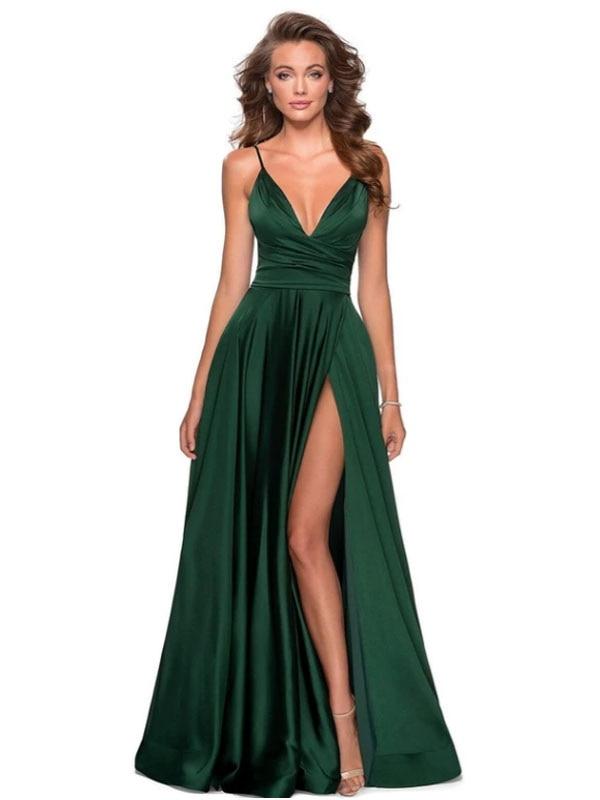 الأخضر الداكن فساتين وصيفة الشرف رخيصة تحت 50 ألف خط الخامس الرقبة السباغيتي الأشرطة الحياكة فساتين زفاف طويلة للنساء