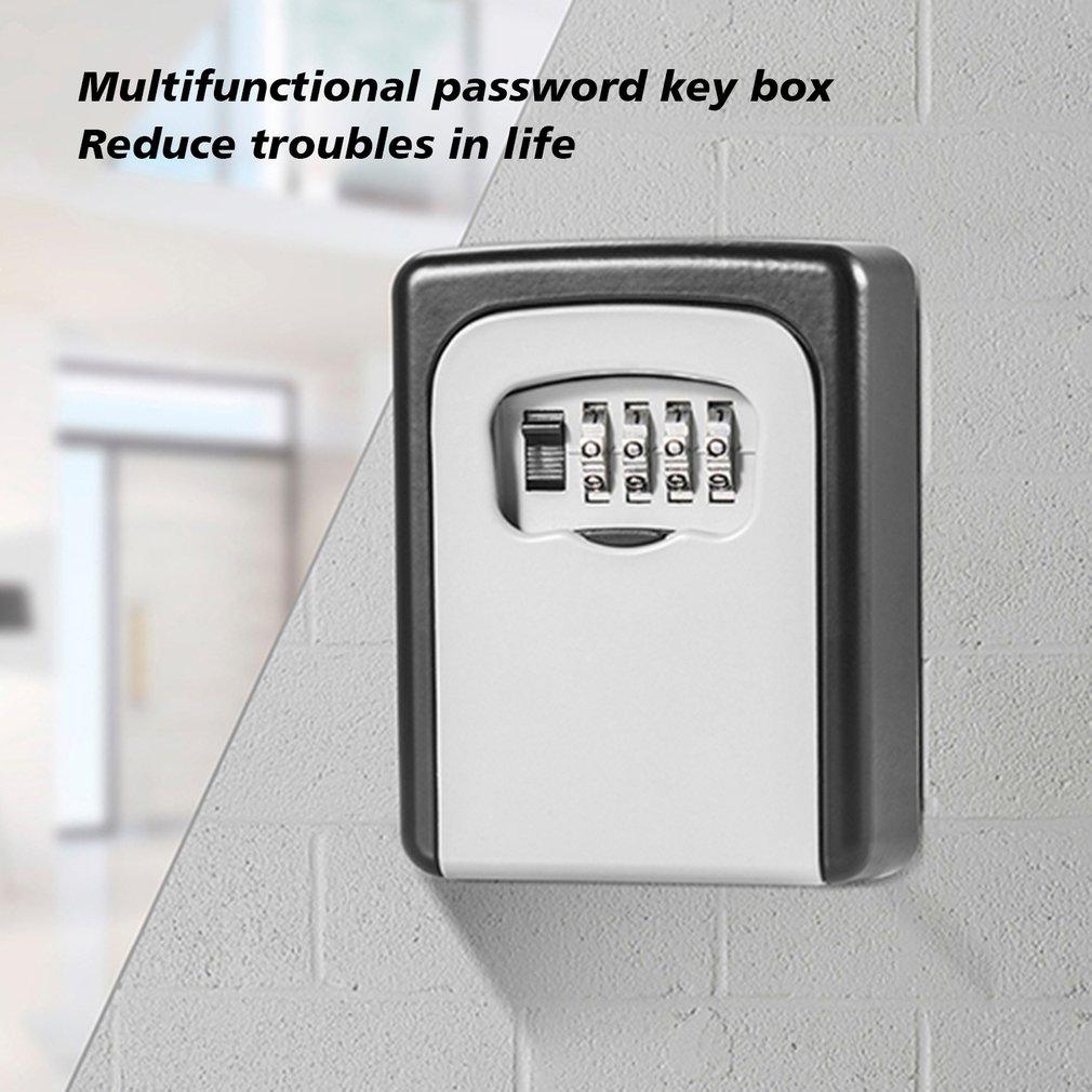 Wall-mounted metal 4-digit combination password key box outdoor weatherproof household anti-theft lock tool metal key box недорого