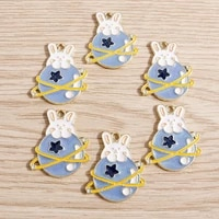 10pcs 2227mm alloy cartoon enamel rabbit planet charms for necklaces earrings pendants diy jewelry making craft accessories