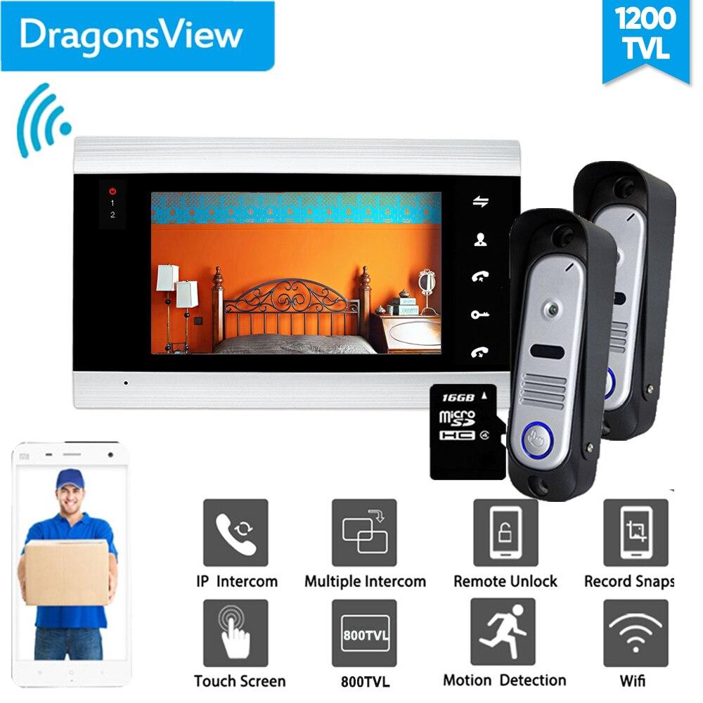 Dragonsview, 7 pulgadas, intercomunicador con Wifi, IP, videoportero inalámbrico, sistema de intercomunicación con cable, timbre con cámara, desbloqueo, registro de movimiento