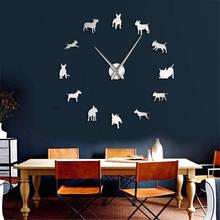 DIY Große Wanduhr Bull Terrier Hund Wand Kunst Hund Rasse Mops Nadel Uhr Uhr Pet Shop Decor Geschenk für bull Terrier Liebhaber