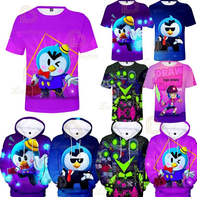 3T - 14 juego niños 3D impresión alta elástica estrella camiseta León CROW Shooter camiseta nueva dibujos animados niños niñas Tops camisetas