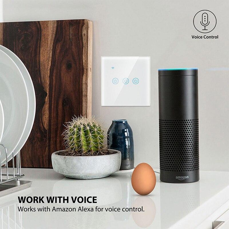 Cambio de trabajo táctil de cristal estándar UE/Reino Unido con Alexa y control remoto en casa de Google interruptores de luz de pared doble WIFI para residencia