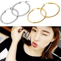 1 pair metal circle chic hoop large ring women gold earrings simple jewelry smooth earrings big circle women punk