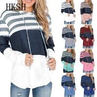 womens hoodie fashion loose stripe long sleeve swerter autumn winter casual women clothing jersey mujer winter clothes women